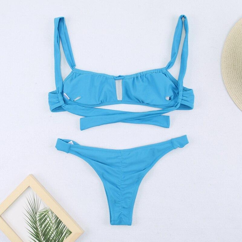 H759825a76d1b4780a54738164e432fdaH Miyouj Sexy Bandeau Bikini Bandage Swimwear Women Solid Swimwear 2019 Bathing Suits Rings Bikini Set Hollow Out Biquini Swimwear