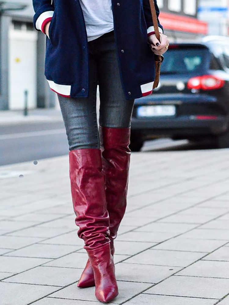 Bottes Slouch rouge bout pointu talons épais genou bottes hautes femmes hiver sans lacet chaussures à talons hauts couleur rouge vin solide personnalisé
