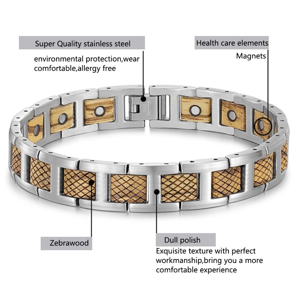 H75982b13e4cb44fda9dd44b3526433f0a - Zebrawood Magnetic Stainless Steel Bracelet