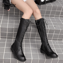 BYQDY Sexy Autumn Thick Heels Boots Woman Shoes Round Toe Lacing Up Med PU Leather Knee High Girlfriend Patent