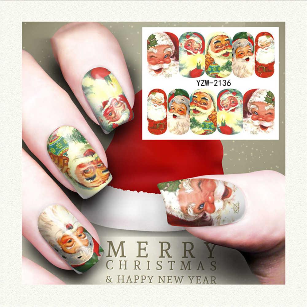 1pcs חג המולד חורף פתית שלג סנטה קלאוס מלא כורכת נייל אמנות העברת מים מדבקות ציפורניים מדבקת מדבקות עיצובים מדבקות