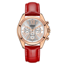 MEGIR Watch Lady Fashion Stereo Dial Multifunction Calendar Timing Leather Girl Quartz Watch 2114 free shipping 1pc mechanical watch timing tester timegrapher multifunction timing machine mtg 1500