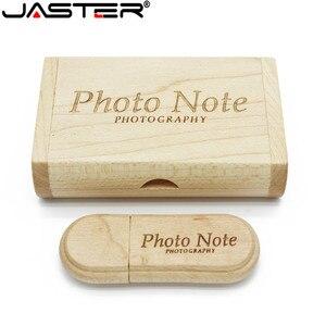 Image 2 - JASTER 1PCS משלוח מותאם אישית לוגו לייזר חריטת עץ + תיבת pendrive 4GB 8GB 16GB 32GB 64GB USB דיסק און קי צילום מתנה
