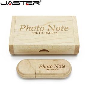 Image 2 - Jaster 1 Pcs Gratis Custom Logo Lasergravure Houten + Box Pendrive 4 Gb 8 Gb 16 Gb 32 Gb 64 Gb Usb Flash Drive Fotografie Gift
