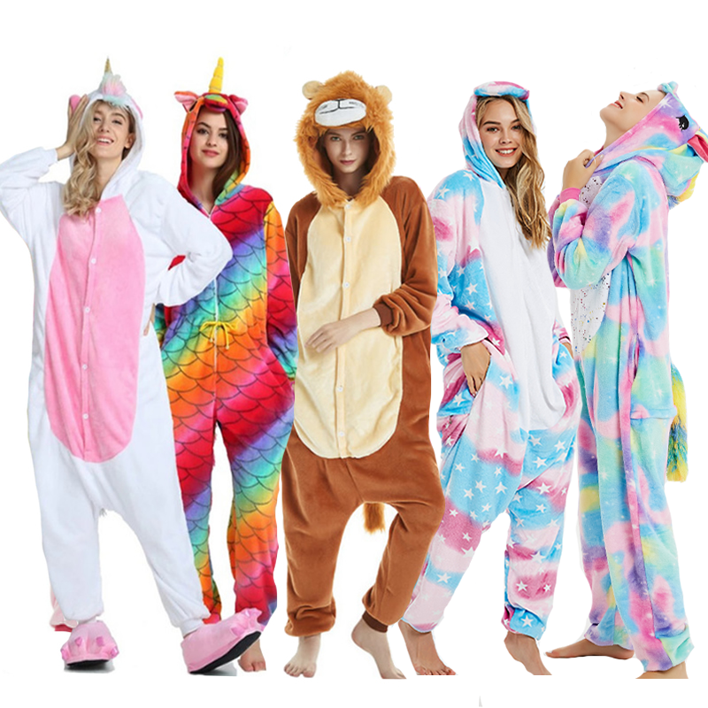 Women Animal Pajamas Flannel Sleep Lounge Adults Sleepwear Kigurumi Cute Unicorn Lemur Tiger Stitch Cartoon Onesies Pyjama Sets
