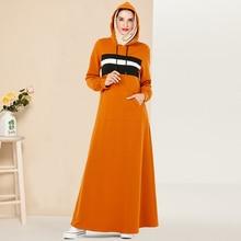 Siskakia Hooded Sweater Dress Long Fashion Front Pocket Maxi