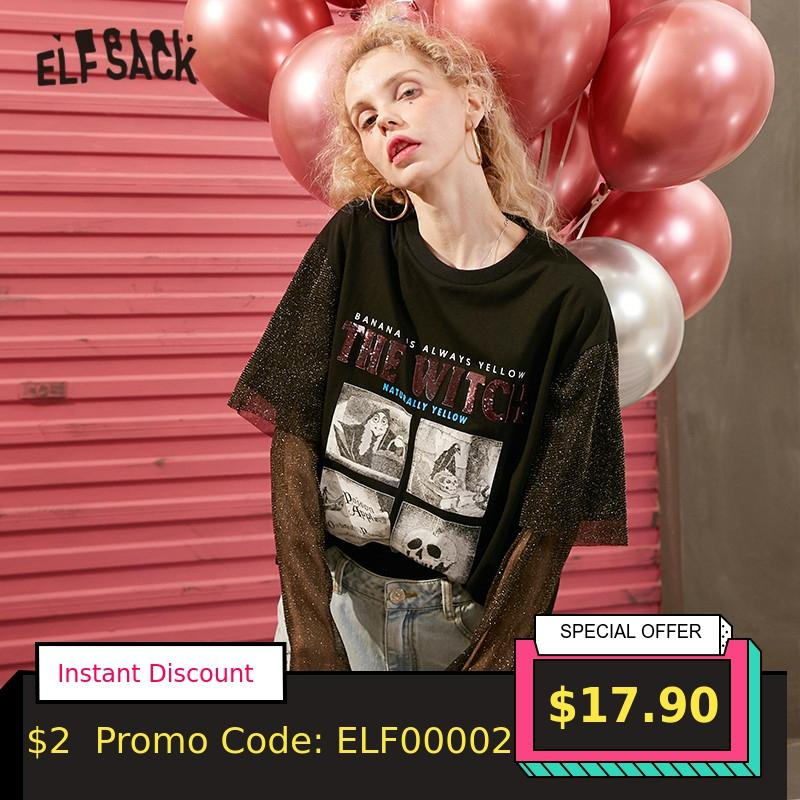 ELFSACK Black Graphic Print Contrast Sequin Casual Women T Shirt 2020 Spring Patchwork Sleeve Girly Korean Fake Two Pieces Top