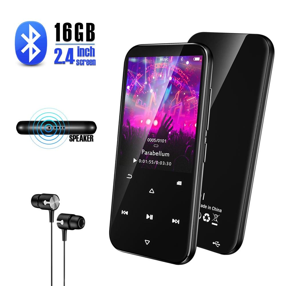 Qosea HiFi MP3 Player With Bluetooth Portable Walkman Music Player Touch Tone Build-in Speaker 16GB Audio E-Book FM Radio