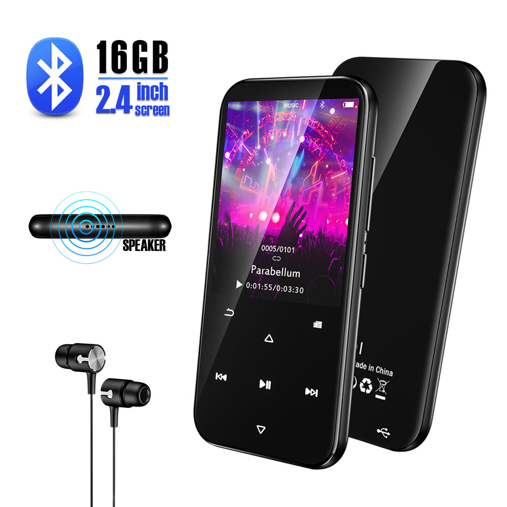 Qosea MP3 Player Bluetooth 16GB Lossless HiFi Music Player Touch Buttons 2.4 Inches Screen & Speaker Digital Audio E-Book Radio