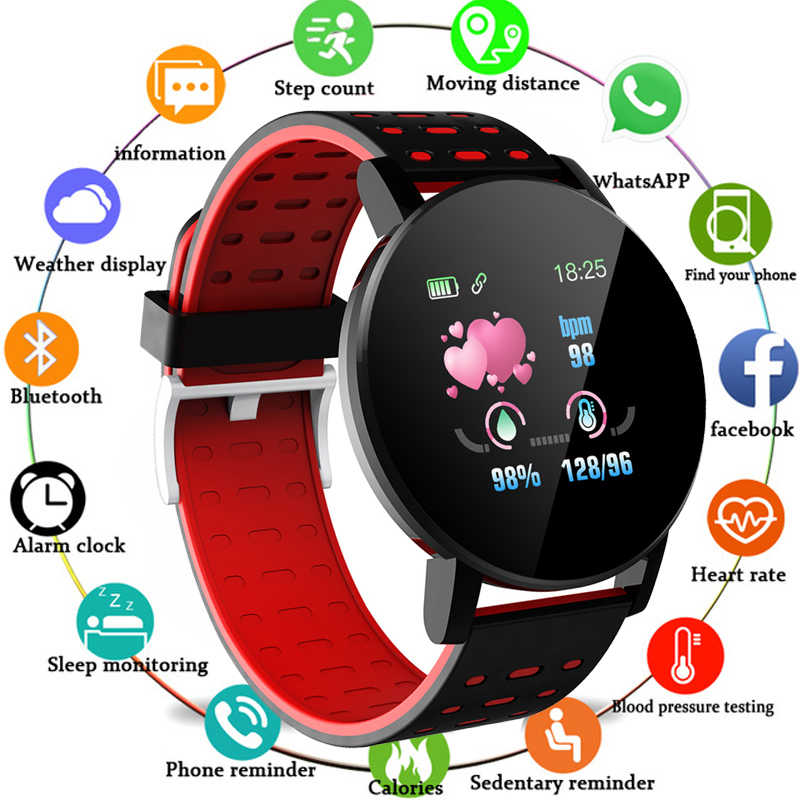119Plus Bluetooth montre intelligente hommes tension artérielle Smartwatch femmes Sport Tracker WhatsApp pour Android Ios relojes inteligentes