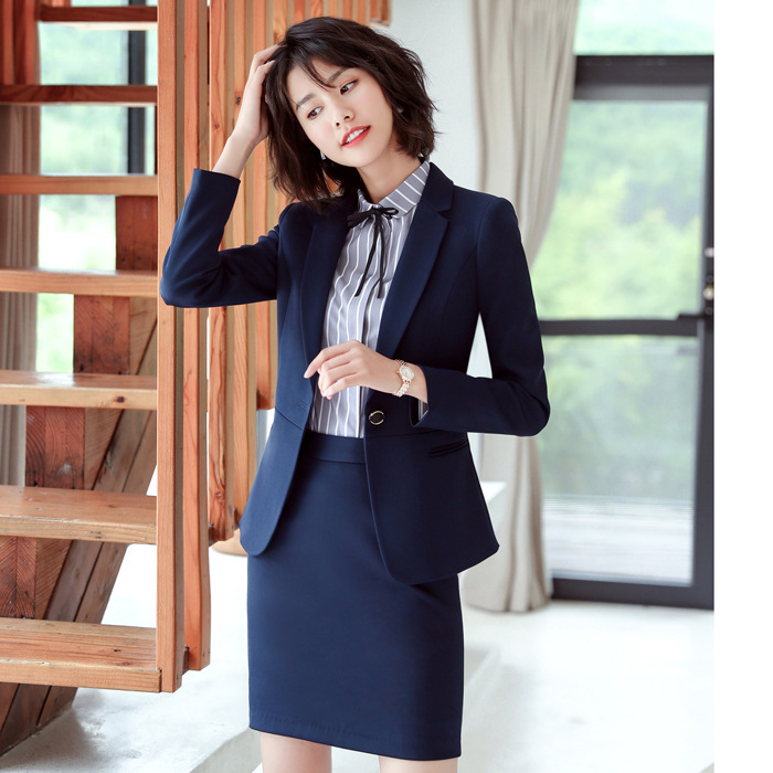 Formal Elegant Blazers Suits 2 Pieces With Tops And Skirt For Ladies Office Gray Slim Blazer Sets Clothes Vest Uniform Styles