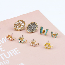 2 pcs new hot sale fashion temperament oval pearl butterfly flowers stud earrings for women materials diy jewelry accessories