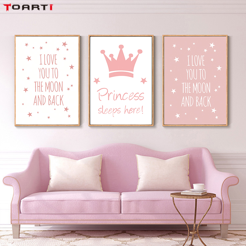 I Love You To The Moon And Back Quote Posters Prints Princess Canvas Painting Children Gifts Wall Art Painting Nursery Room Deco