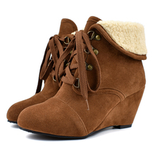YANSHENGXIN Shoes Woman Boots Suede Plush Ankle Boots Wedge Women Shoes Autumn Winter Boots Large Size Lace-Up Ladies Booties цена