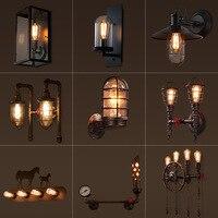 Loft Amerikanischen retro industriellen wind wand lampe bett gang schmiedeeisen nostalgischen treppen korridor tür balkon wand lampe leuchte-in LED-Innenwandleuchten aus Licht & Beleuchtung bei