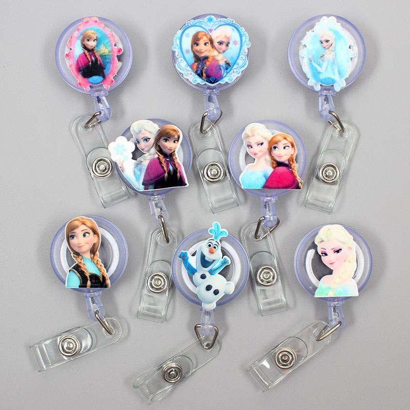 1 Pc Creative Elsa & Anna Acrylic Retractable Badge Reel Nurse Doctor Student Exhibition ID Card Clips Badge Holder Stationery