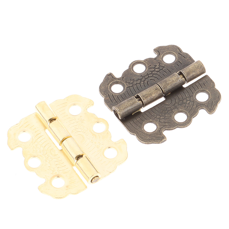 10pcs/set Mini Door Hinges Bronze Cabinet Drawer Jewellery Box Decorate Hinge For Furniture Hardware