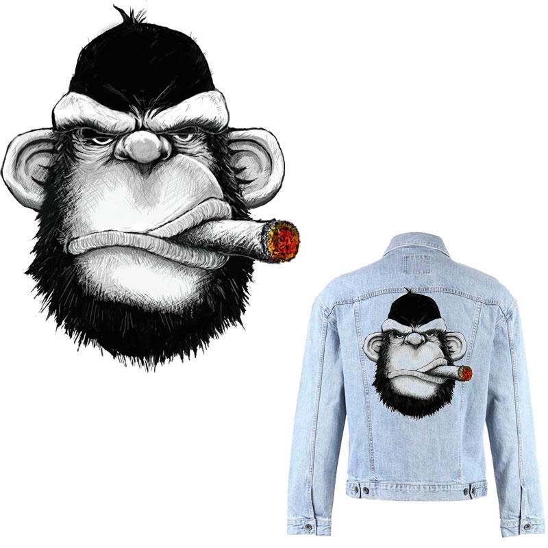 С принтом «обезьяна» для железа патчи для одежды Бесплатная доставка термонаклеек классная куртка DIY патч тепла трансферт thermocollants футболка...
