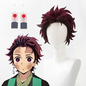Demon Slayer: Kimetsu no Yaiba Tanjiro Kamado Short Chestnut Brown Heat Resistant Hair Cosplay Costume Wig + A Pair Of Ear-Rings(China)