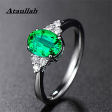 Ataullah Green Emerald Gemstone Rings for Women 925 Sterling Silver Fashion Adjustable Ring Romantic Gift Fine Jewelry RW080