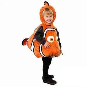 Bonito crianças nemo cosplay trajes de halloween para a criança terno de aniversário do bebê trajes de natal dos desenhos animados crianças macacão
