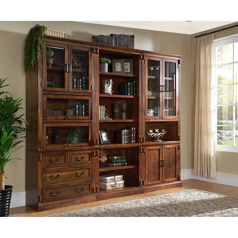 Solid wood big bookcase with glass doors models sapien bookcase WA696