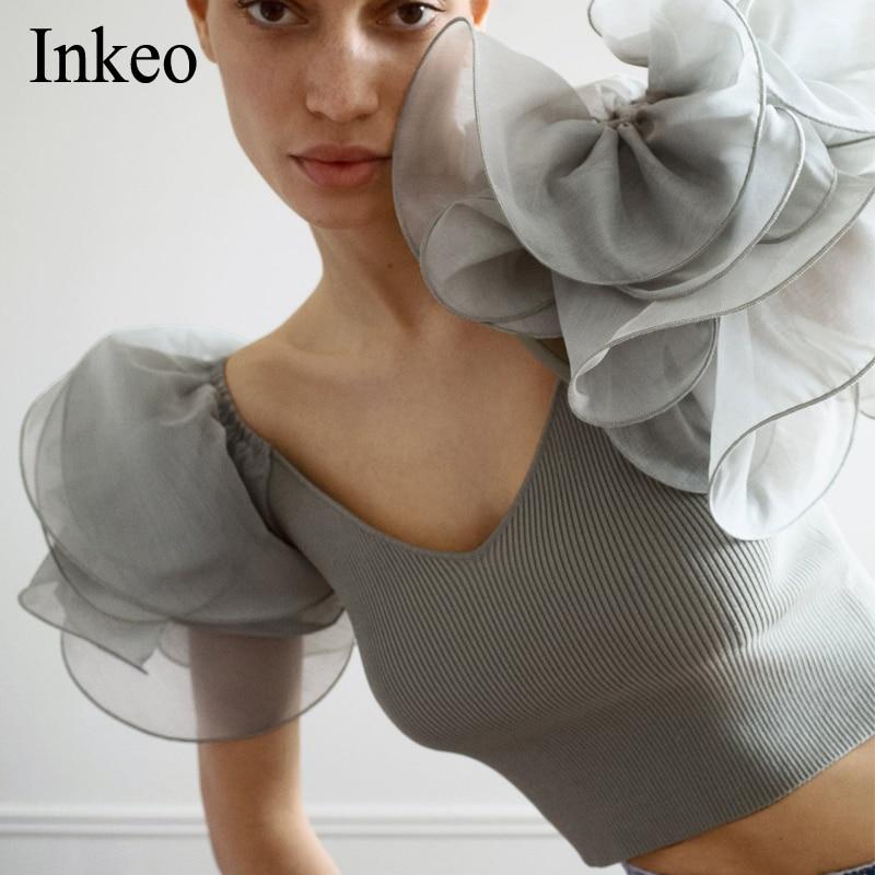 High Street Women Ruffled Organza Sleeve Tops Summer 2020 New V-neck Knitted Slim Female Crop Tops Shirt Party Club INKEO 9T138