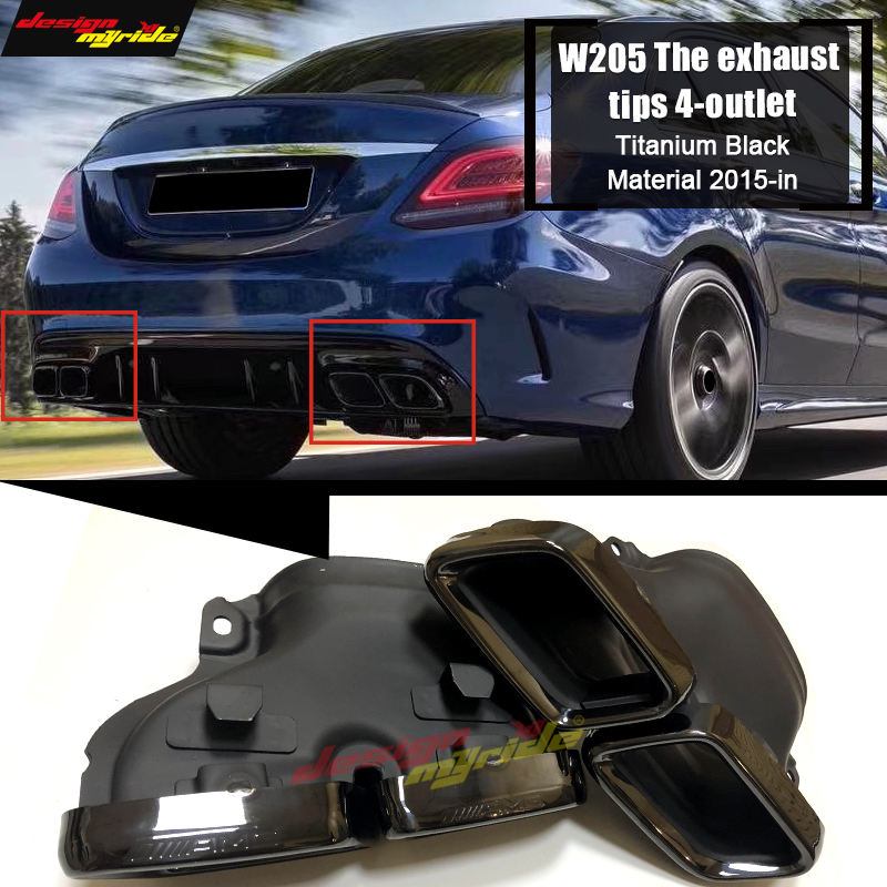 Fits For MercedesMB W205 <font><b>Rear</b></font> Bumper <font><b>Diffuser</b></font> The exhaust tips 4-outlet Titanium Black Material C Class C180 C200 C250 <font><b>C300</b></font> 15+ image
