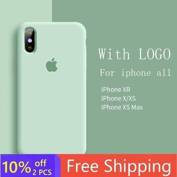 Перейти на Алиэкспресс и купить Оригинальный Официальный чехол с логотипом для iphone 7 8 6S 6 Plus X XS MAX XR, чехол для телефона Apple iPhone 11 Pro Max, силиконовый чехол