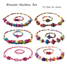 1 Set/lot Hot New Girls Acrylic Necklace Bracelet set Silicone Teething Beads For Choose Childrens  Fashion Bohemian Jewelry