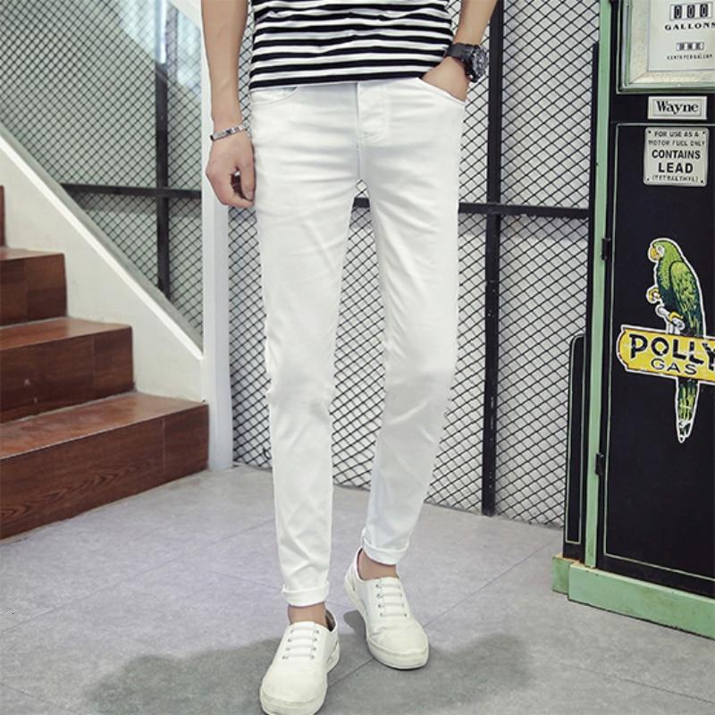 Осенние белые джинсы мужские тонкие модные повседневные джинсы мужские уличные дикие джинсовые брюки мужская Ковбойская одежда мужские