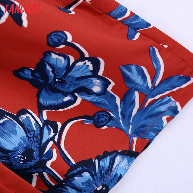 Tangada 2021 Autumn Fashion Women Red Flowers Print Elegant Midi Dress Long Sleeve Office Ladies Dress BE375 5