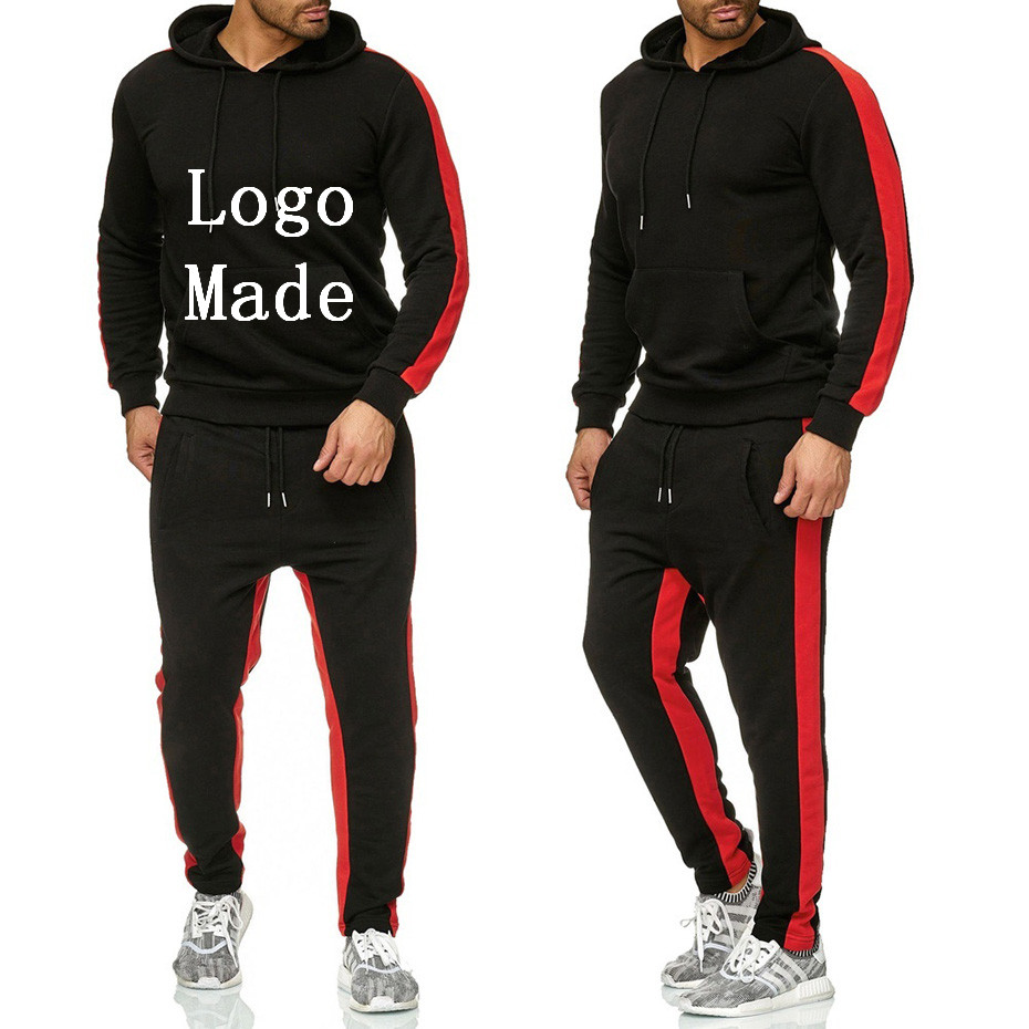 Free Shipping Winter 2019 Logo Print Thick Suit Solid Men Hoodies+Pants Two Pieces Suit Men Tracksuit Fleece Sweatshirt Clothing