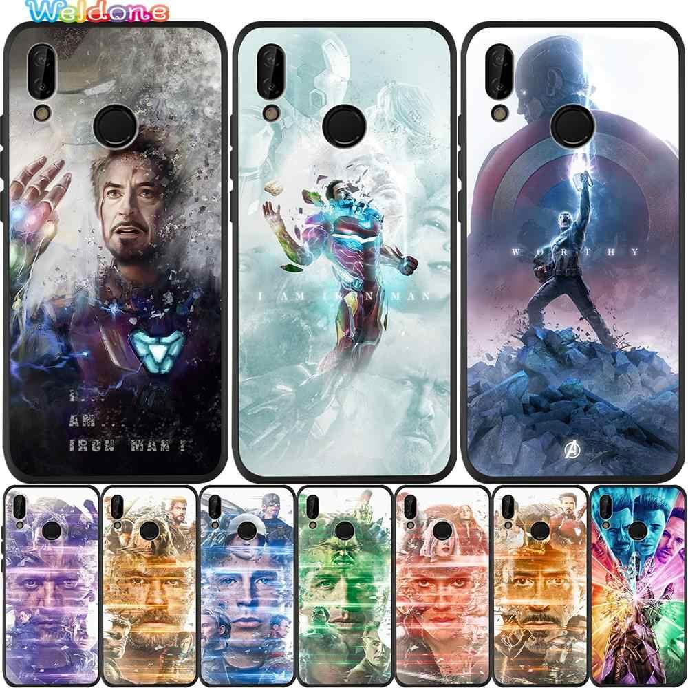 Marvel Avengers Iron Man captain Scarlett Nero Cassa Del Telefono Per Huawei honor 8 9 10 Lite honor 9X20 Pro P Astuto Della Copertura di caso Astuccio