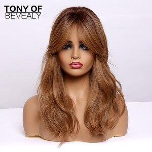 Image 5 - ארוך גלי סינטטי פאות עם פוני Ombre חום פאות עבור נשים טבעי יומי מסיבת שיער פאות חום סיבים עמידים פאות