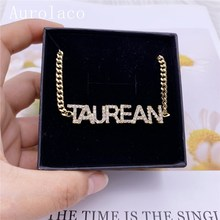 AurolaCo Custom Name Anklet Personality Cuban Chain Anklet Stainless Steel Custom Zircon Letters  Anklet  for Women Jewelry Gift