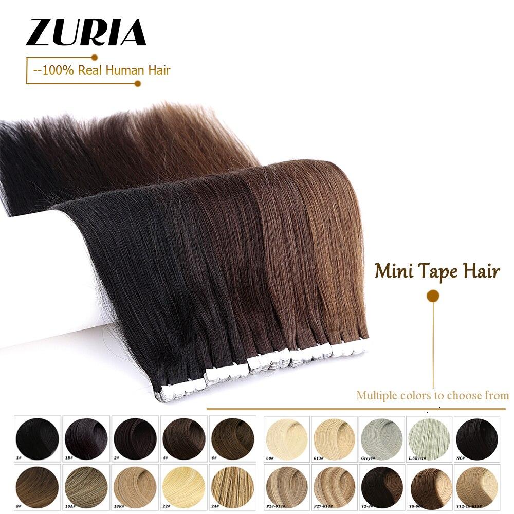 ZURIA-Mini cinta Natural para extensión de cabello humano, no Remy, trama de piel recta de 12, 16, 20 y 40 Uds., 100% cabello Real