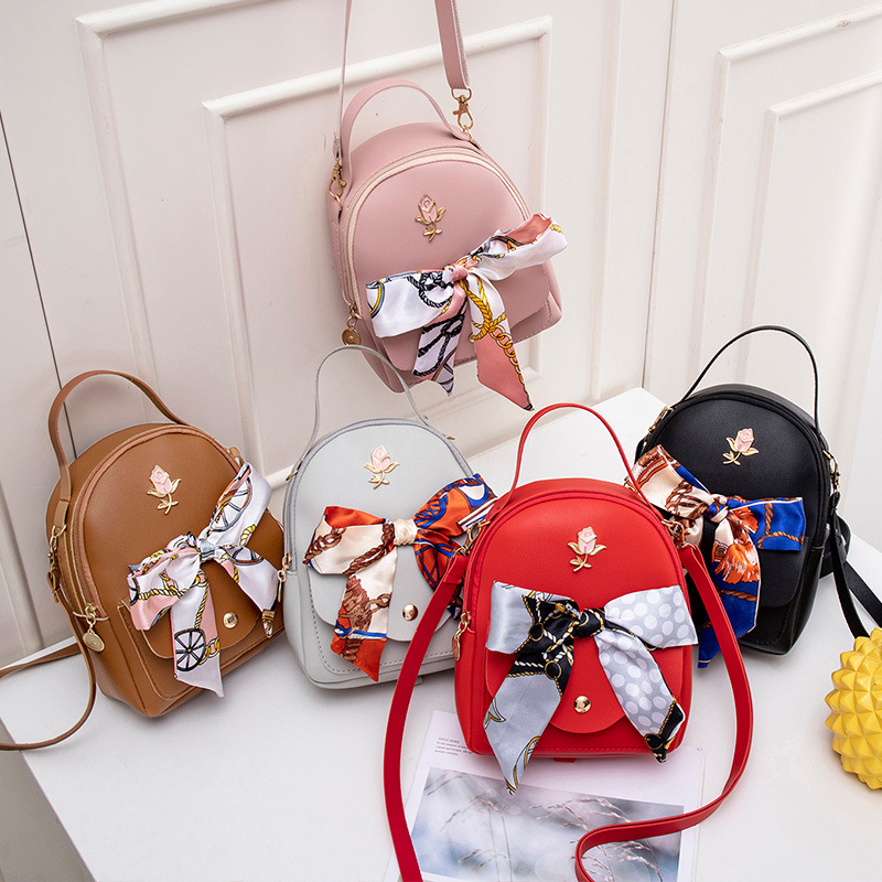 Bow Small Book Bag Trend Women Mini Backpack Casual  One-shoulder Bag Mobile Phone Bag Silk Scarves Bag