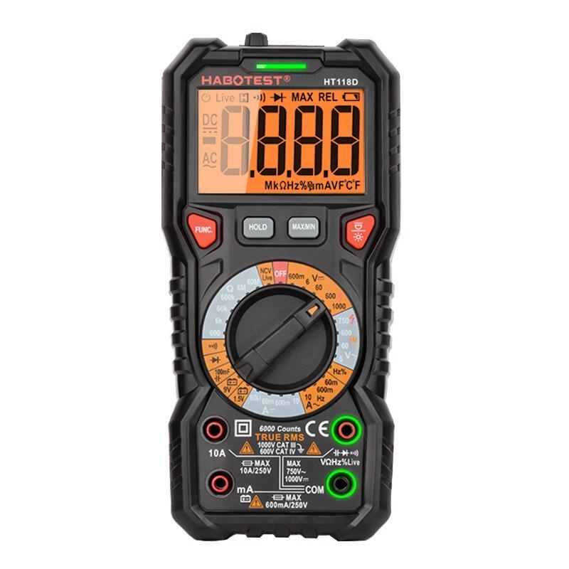 Цифровой мультиметр Серии HT118, тестер напряжения постоянного и переменного тока, Омметр, Гц, Бесконтактный индикатор напряжения, тестовые и...