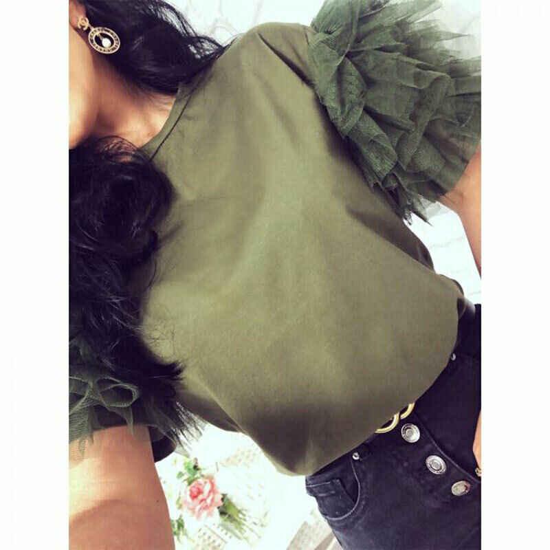 Kobiety lato Tulle plisowana z krótkim rękawem T koszula damska koszulka top na co dzień luźne damskie z dzianiny Patchwork koszulka top odzież