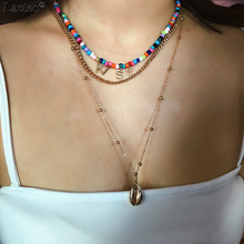 Lacteo Punk Hip hop Multi Layer Golden Shell Pendant Necklaces Women Fashion Colorful Beads letter KISS Female Choker Necklace