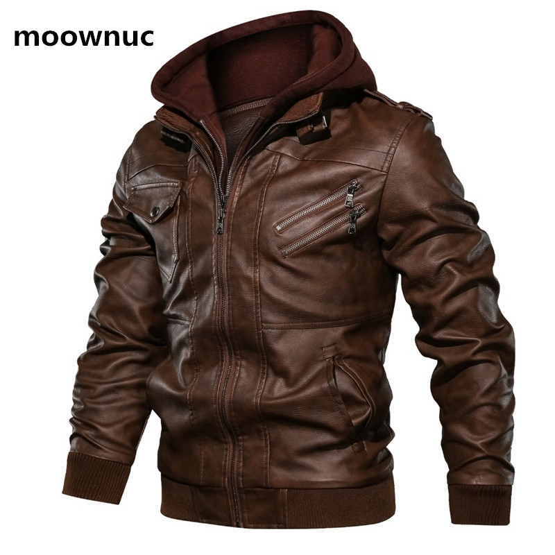 2020 New Arrival Spring Coat Men High Quality Hooded Jacket Men,men's Thick Casual Pu Leather Jackets Size M-3XL
