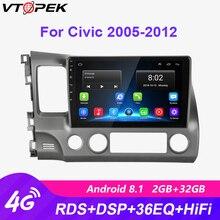 Vtopek 10 2+32G Android 8.1 4G WiFi Car Radio Multimedia Video Player Navigation GPS HIFI for Honda Civic 2005-2011 2din Dvd