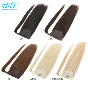 BHF 100% Human Hair Ponytail Brazilian Straight Remy Magic Wrap Around Ponytail Clip In Horsetail wig Extension 100g 120g