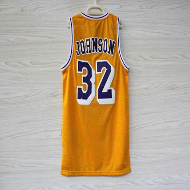 detailed look ad77b f3614 Basketball Clothes Wholesale Lakers 32 # Magic Johnson Retro Mesh  Embroidered Jersey, Johnson Foreign Trade