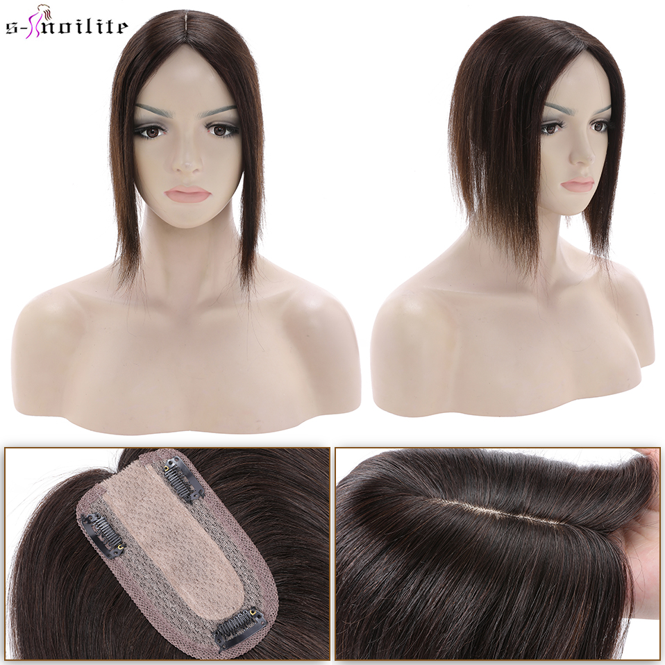 S-noilte 7x13cm Hair Toppers Hair Clips Natural Hair Wig 100% Human Hair For Women Brown Silk Base Wigs Clip In Hair Extensions