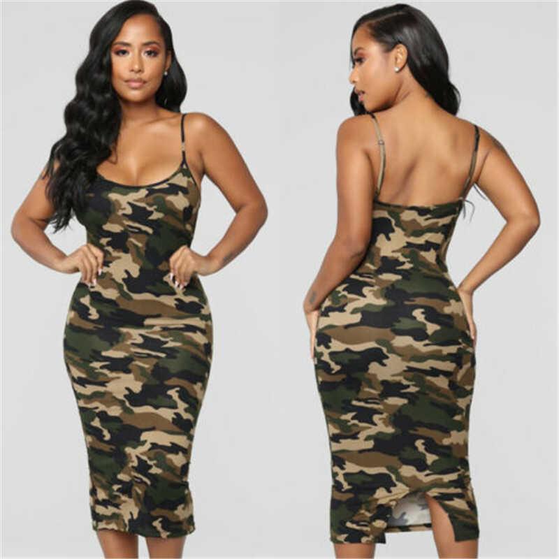 여성 캐주얼 Bodycon 복장 민소매 카모 군대 미디 드레스 Sundress