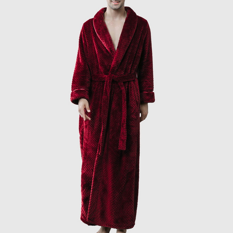 WENYUJH 2019 New Autumn Winter Robe Soft Absorbent Lightweight Long Sleeved Deep V-Neck Long Kimono Flannel Spa Bathrobe For Men