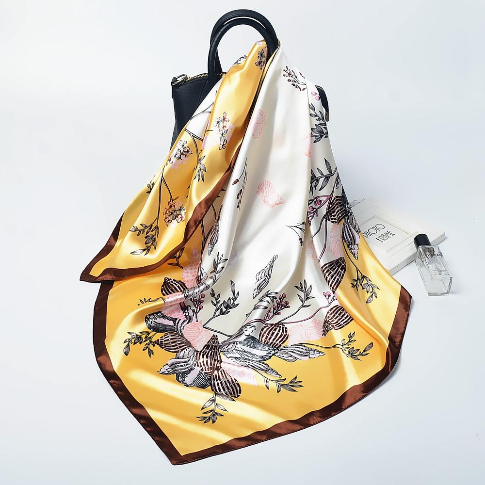 2020 Spring Silk Satin Hijab Scarf For Women Shawls And Wraps Fashion Kerchief Head Scarfs Female 90*90cm Bag Scarves For Ladies