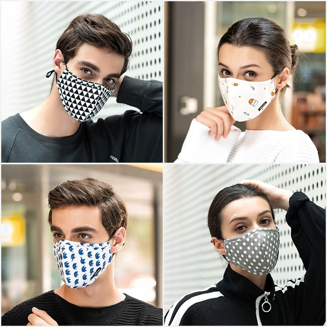 Wecan Fabric Face Mask Black Mouth Masks Anti Flu PM2.5 dust Mouth covers Mask mascaras with 6pcs Activated Carbon Filter Mask 4